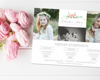 Photographer Price List Template, Photography Marketing Flyer, Photographer Price List, Photographer Template