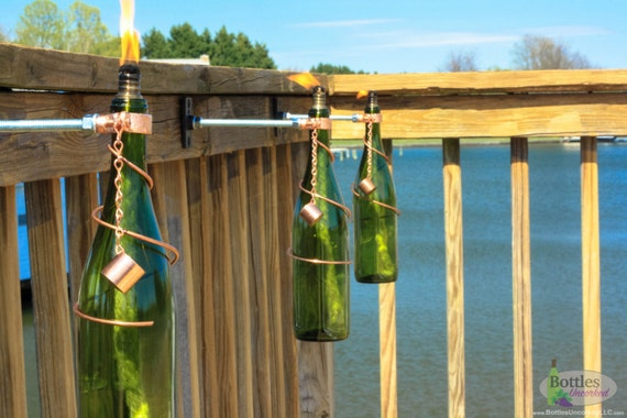 Three 750ml green wine bottle tiki torches gift for mom for Decor 750ml