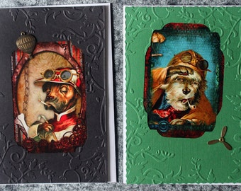 Handmade card. Steampunk cards. Hand made in Australia. Any occasion card. Blank inside card