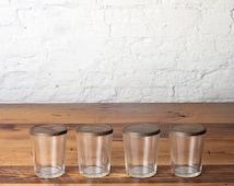 Vintage Set of 4 Ball Jelly Glass Canning Jars with Zinc Lids Horseshoe Rustic Primitive Farmhouse