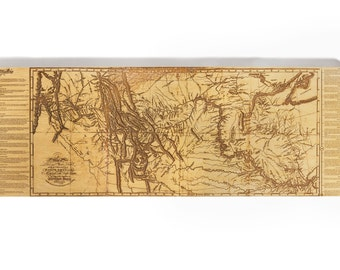 Lewis and Clark Expedition Map (1814) - Laser-Etched Wood Map