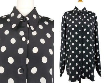 Vintage Polka Dot Spot Shirt Black & White 80s/90s Oversized 10/12