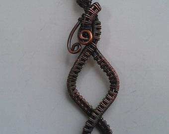 wire wrapped pendant , copper wire pendant,  handmade copper wire pendant
