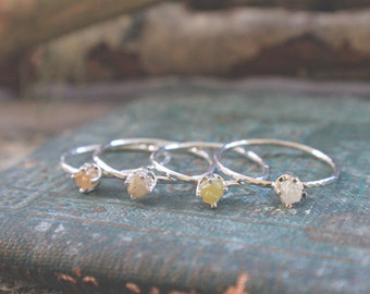 Rough Natural Diamond Ring in Sterling silver