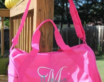 Glitter Monogrammed Duffle bag - monogrammed bag - pink- custom sports bag - team bag - sport duffle bag - custom duffle bag - sleepover bag