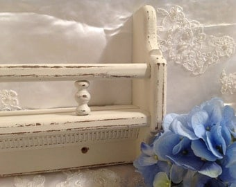 Shabby Chic Shelf Wall Hanging Wood Cottage White Spindles Shabby Chic Wall Art Country Shelves