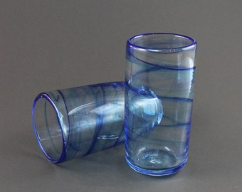 Two Hand Blown Twisted Glasses