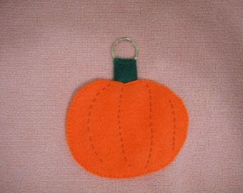 Pumpkin key chain, felt, hand made