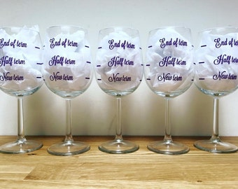 Personalised end of term wine glass gifts for teachers