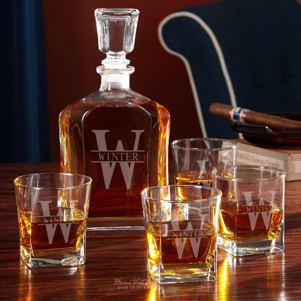 oakmont personalized decanter set with whiskey glasses bar