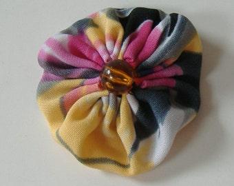 Fabric Yoyo Hair Clip, 2 Inch Hair Clip, Yellow Pink Black Clip, Hair Clip With Orange Bead, Round Barrette, Repurposed Fabric