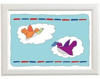 Birds bringing Airmail-Illustration-Print-Wall Decor-Art-Children-Kids-Baby-Nursery-Kids Bedroom-Childrens Bedroom-School-Kindergarten