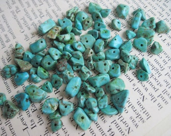 Turquoise Howlite Chip Beads, Turquoise Howlite Nugget Beads, Destash Beads