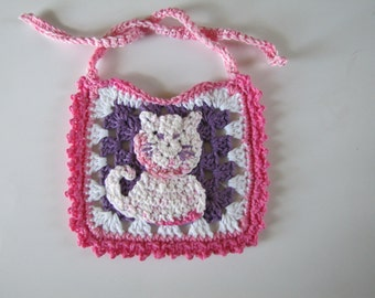 Hello Kitty style Pink Kitty Baby Bib original design made of 100% cotton yarn