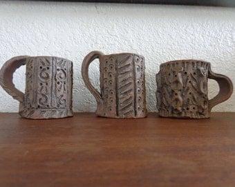 Mid Century Brutalist Stoneware Pottery Mugs Signed VK