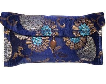 Tarot Bag, Tarot Pouch, Tarot Card Holder, Divination, Blue Satin Flowes with Beaded Tassel