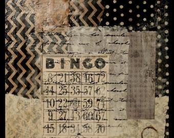 BINGO * collage * altered art * OOAK * mixed media * encaustic
