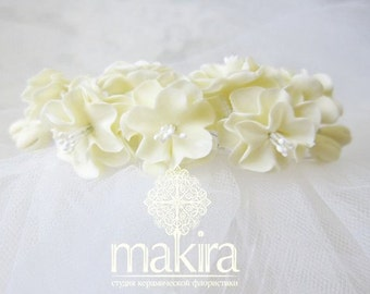 Sakura blossom comb- bridal flower comb - blossom hair comb - wedding flower comb - bridal comb - flower hair accessory