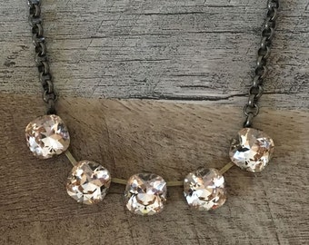 Classic Swarovski Crystal Cushion Cut 12mm 5 Stone Necklace
