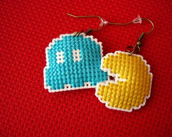 Cross stitch earrings - Pac-Man, earrings on plastic canvas, embroidered earrings