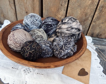 Cotton Fabric Balls, Real Rag Balls, Primitive Accent, Primitive Bowl Fillers, Rag Basket, Shades of Gray and Black, Rag Balls, Set of 10