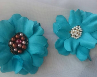 Leather Flower Brooch, Flower Brooch, Leather Anniversary Gift, Birthday Gift For Her, Tourquoise