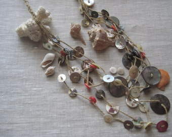 Necklace mother of Pearl buttons-Homemade