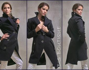 Modern maxi woman winter coat, plus sizes / large sizes, elegant knee-length warm wool coat, sexy / stylish / elegant woman coat / jacket