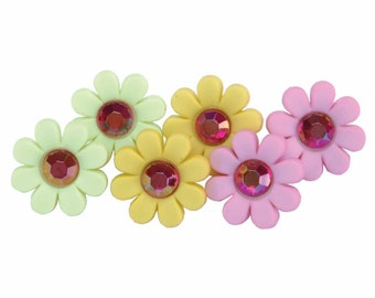 SET of 6 Cute Pocket full of Posies Bright and Colorful Shank Buttons with Gem in Center