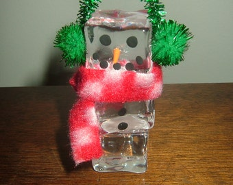Snowman Ice Cube Ornament~Glass Ice Cubes!  Last One!