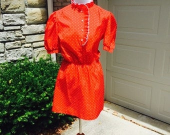 Free Shipping! 1980's Red and White Polka Dot Dress size small / medium