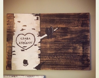 Carved Birch Tree Love Sign