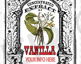 YOU ADD TEXT Homemade Vanilla Extract Labels Vintage Vanilla Extract Tags Digital Download Vanilla Extract Labels Botanical  Vanilla - 063