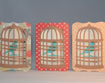 3 Bird Cage Cards