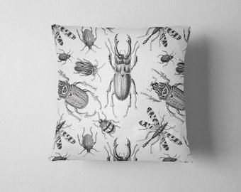 Vintage bug illustration throw pillow