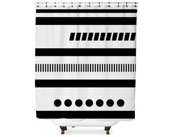 Black and white geometric tribal modern shower curtain