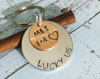 Personalized Lucky Penny Keychain,2016 keychain, One Year Anniversary Key Chain,Husband Wife Gift,Anniversary Keychain,Anniversary Gift