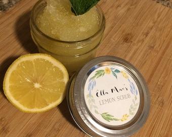 Natural Lemon Body Scrub-Organic Body Scrub-Lemon Scrub-4oz Jar-Natural Body Scrub-Shea Butter-Coconut Oil