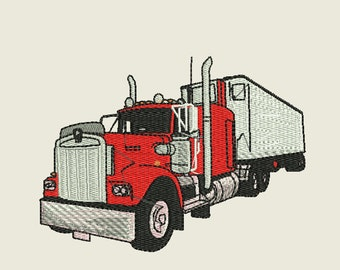 Big Rig With Trailer Embroidery Design 4x4 hoop