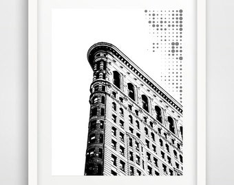 Black and white prints, poster design, New York art, Flatiron building, wall prints, modern wall art, photo art, modern architecture