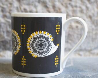 Hedeghog Mug,Hedgehog Cup, Hedgehog Gifts, Cute Mugs, Screenprinted mug, Bone china mug, illustrated mug, Grey and mustard contemporary mug