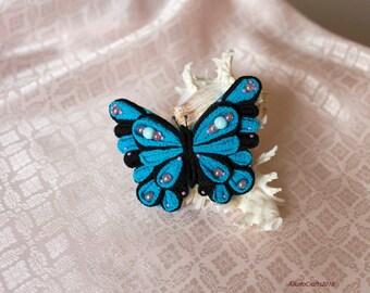 Blue buterfly tsumami kanzashi hair clip