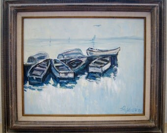 "Oil on Canvas Impressionist Painting John T. Vignari (1919-2014) ""Boats at Bay"" 1974 Original"
