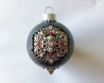 Bejeweled Black Round Christmas Ornament