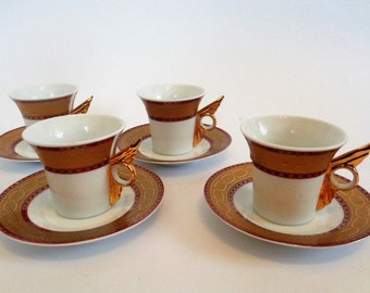 Limoges Cups and Saucers, Limoges Cups with Butterfly handles, Gold Limoges Cups, French China, Limoges China, Limoges France