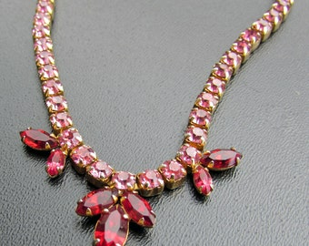 Vintage Sherman Necklace Pink Fuchsia Swarovski Wedding Bridal Mother Of The Bride Gift Mother's Day Made In Canada