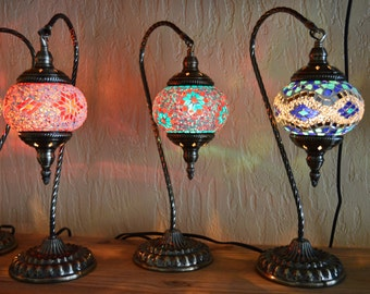 "Turkish Swan Neck Mosaic Lamp- (Choose ANY globe) 18"" tall. An ancient design .Globe #s from left #62 {next=OUT} next #42 then right is #89"