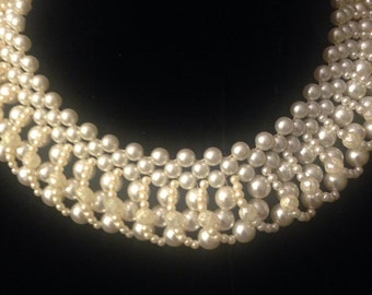 1950's Faux Pearl Collar Necklace