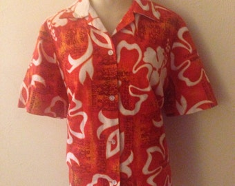 1950's Women's  Barkcloth Hawaiian Shirt