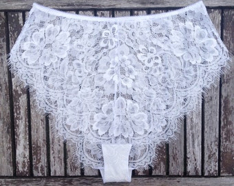 White Lace French Knickers 'Eva' by Thrill Factory